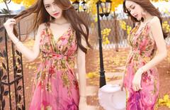海边度假春季高腰连衣裙图片