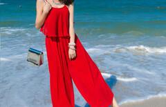 海边度假沙滩长款连衣裙裤裙图片