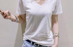 竹节棉v领短袖t恤图片