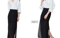 黑色高腰开叉半身裙图片