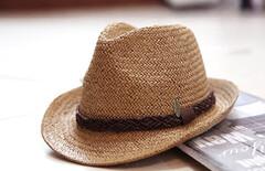 英伦小礼帽休闲海边图片