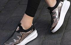 新款韩版亮面厚底休闲运动女鞋图片