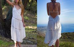 露背海边度假沙滩裙图片