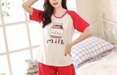 夏季睡衣女夏纯棉短袖短裤可爱图片