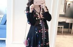 孕妇显瘦春装连衣裙图片