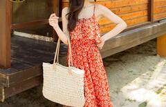 无袖碎花海边度假沙滩裙图片