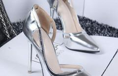 欧美银色婚鞋高跟鞋图片