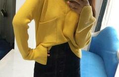 黄色针织衫带钻图片