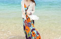 顯瘦大擺海邊度假沙灘裙兩件套圖片