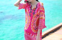 海邊度假沙灘裙韓版圖片