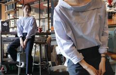韩国代购一字领露肩衬衫图片