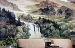 客厅向日葵沙发背景壁画壁纸图片