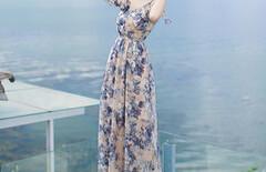 露肩度假雪纺连衣裙夏季图片
