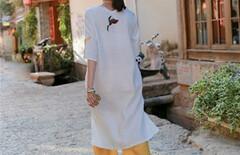 棉麻刺绣连衣裙中长款图片