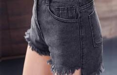牛仔短裤毛边高腰图片