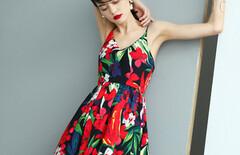 连衣裙印花吊带短裙图片