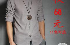 亚麻中国风复古男装立领图片