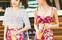 韩国比基尼三件套泳衣女图片