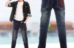 大童宽松直筒牛仔裤图片