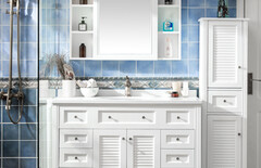 美式卫浴柜落地实木浴室柜图片