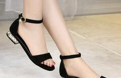 高跟坡跟一字式扣带凉鞋女水钻图片