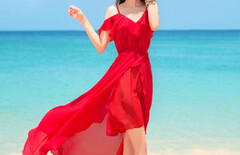 沙滩度假裙海边荷叶图片