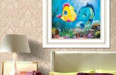 亲吻鱼钻石画图片