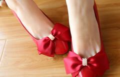 公主蝴蝶结细中跟婚鞋图片