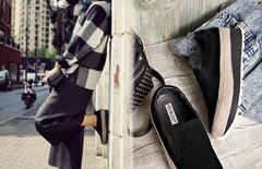 一脚蹬黑色女单鞋乐福鞋图片