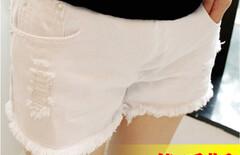 孕妇装牛仔短裤白色图片
