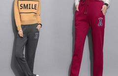 女裤子加绒加厚棉运动裤显瘦图片