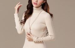 纯棉线打底衫女长袖修身图片