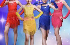 新款流苏儿童拉丁舞蹈裙图片