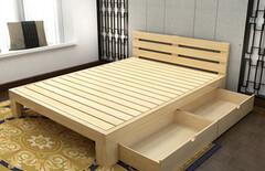 实木松木床现代图片