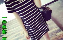 夏季新款条纹连衣裙大码中长款图片