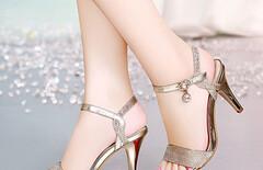 女凉鞋夏中跟细跟鱼嘴鞋图片