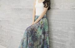 大摆裙半身长裙雪纺桔色图片