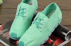 低帮薄荷绿帆布鞋图片