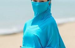 防晒口罩披肩一体图片