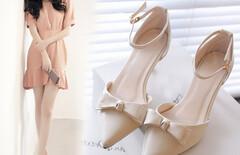 女鞋中跟浅口单鞋尖头蝴蝶结图片