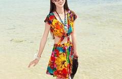 海边度假沙滩裙印花套装图片