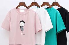 夏装韩版大码短款短袖t恤女图片