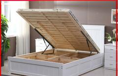 实木板式床高箱储物气动床图片