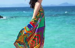 民族风度假海边沙滩长裙图片