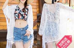 夏季波西米亚开衫度假蕾丝衫图片