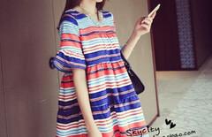 新款韩版条纹度假沙滩裙短裙图片