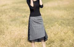 韩国开叉半身裙一字裙图片