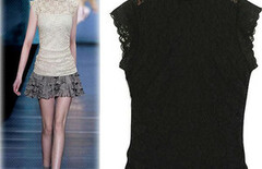 女上衣女夏装打底衫雪纺衫蕾丝图片